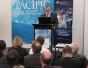 Chief Defence Scientist Dr Alex Zelinsky, speaking at the Pacific 2015 maritime expo.