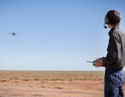A DST Quadcopter being flown at the Woomera Test Range in SA.