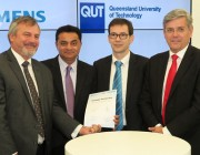 L-R: Chief Defence Scientist Dr Alex Zelinsky, Professor Arun Sharma (QUT Deputy Vice-Chancellor), Michael Wycisk (Siemens AG) and Jeff Connolly (Siemens Australia CEO)