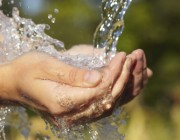 An image of water flowing onto cupped hands.