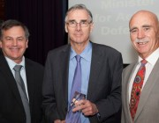A photo of Chief Defence Scientist, Dr Alex Zelinsky, award recipient, Dr Doug Cato and Minister for Defence Science and Personnel, Mr Warren Snowdon.
