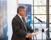 Chief Defence Scientist Dr Alex Zelinsky speaking at the launch of new the Defence Science Partnerships program.