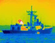 A thermal image of a ship.