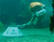 An underwater image of the Cormorant Mine Lift Bag