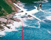 A photograph of an aircrcraft operating the laser airborne depth sounder