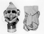 A black and white photo of a respirator
