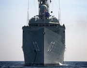 Picture of HMAS Sydney (ANZAC Class) at anchor near Pulau Tioman, Malaysia during Exercise BERSAMA SHIELD 2014.