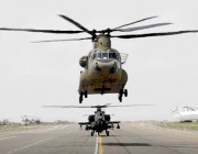 A CH-47F helicopter takes off in Afghanistan.