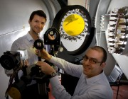 Schlieren System Mirrors in the Transonic Wind Tunnel with DST Group scientists Matteo Giacobello and Peter Manovski.