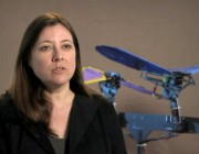 Dr Jennifer Palmer with a prototype of an autonomous aircraft.