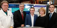 (L-R) Mr Rob Hickey (QUT), Mr Jeff Connolly (Siemens), Mr Wyatt Roy MP (Assistant Innovation Minister), Prof Carol Dickenson (QUT) and Mr Robert Jarvis (DST).