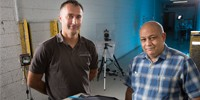 Horace Billon (right) with industry collaborator Adam Fairbairn, testing new ceramic armour prototypes.
