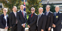The DST investigation group (L-R) Jennie Clothier, Michael Grant, Jeremy Anderson, Russell Connell, Kelvin Bramley, Dale Quinn and Simon Walsh (AFP).