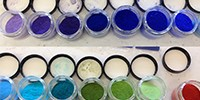 A line-up of some of the new ceramic pigments being developed at Oregon State University.