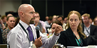 DST delegates Chris Wiren and Kate Foster during a session at Science Meets Parliament on March 1 and 2.