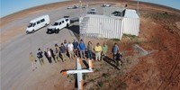 The team prepare for a GPS-free UAS flight trial at Woomera.