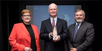 Minister for Defence Senator the Hon Marise Payne, the 2016 Minister's Award for Achievement in Defence Science recipient Dr Brian Ferguson and Chief Defence Scientist Dr Alex Zelinsky.