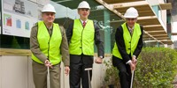 Assistant Minister for Defence, Stuart Robert (centre) with Brigadier Darren Naumann and Dr Simon Oldfield during the sod turning ceremony at Fishermans Bend.