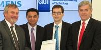 L-R: Chief Defence Scientist Dr Alex Zelinsky, Professor Arun Sharma (QUT Deputy Vice-Chancellor), Michael Wycisk (Siemens AG) and Jeff Connolly (Siemens Australia CEO)