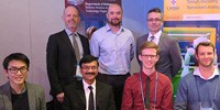 Front row (L-R): Students Vincent Bachtier, Samiul Amin, Ben Steer and Kyle Hardman. Back row (L-R) Dr Graham Morton (UNSW), Dr Todd Mansell (DST Group) and Glenn Frankish (Lockheed Martin).